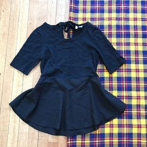 Anthro Moth Tie Back Black Peplum 1/2 Sleeve Top